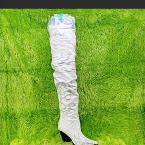 White Slouchy Thigh High Cowboy Boots